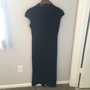 Long black velvet dress